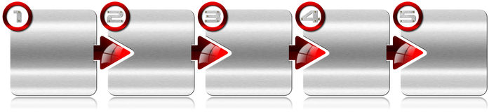 Caja del metal del paso siguiente con las flechas rojas Fotografía de archivo libre de regalías