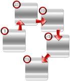 Caja del metal del paso siguiente con las flechas rojas Fotos de archivo