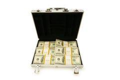 Caja del metal y porciones de dólares Fotografía de archivo libre de regalías