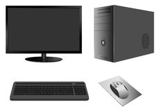Caja del ordenador con el monitor, el teclado y el ratón stock de ilustración
