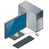 Caja del ordenador con el monitor, el teclado y el ratón, aislados en el fondo blanco, PC, ejemplo isométrico del vector plano 3d Imágenes de archivo libres de regalías