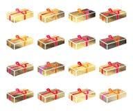 Caja del oro con un regalo para el día de fiesta de la Navidad o del anothrer Foto de archivo libre de regalías