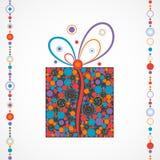 Caja del regalo de Navidad hecha de círculos Foto de archivo