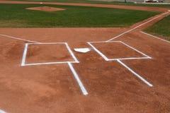 Caja del ` s de la meta y del talud del béisbol foto de archivo
