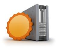 Caja del servidor con la escritura de la etiqueta Imágenes de archivo libres de regalías