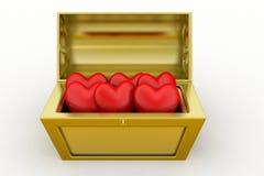 caja del tesoro 3d con el símbolo de /love del corazón Imagenes de archivo