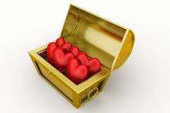 caja del tesoro 3d con el símbolo de /love del corazón Imágenes de archivo libres de regalías