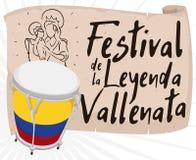 Caja e rotolo con tiraggio religioso che promuove festival di leggenda di Vallenato, illustrazione di vettore illustrazione vettoriale