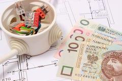 Caja eléctrica con los cables y el dinero en dibujos, concepto de la energía Imágenes de archivo libres de regalías