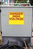 Caja eléctrica del gabinete del metal del empalme en el carnaval con el peligro alto Foto de archivo libre de regalías