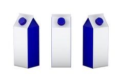 Caja en blanco blanca y azul que empaqueta para la leche y el jugo, acortando Imágenes de archivo libres de regalías