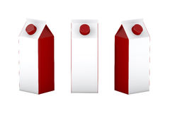 Caja en blanco roja blanca que empaqueta para la leche y el jugo, trayectoria de recortes Fotografía de archivo libre de regalías