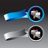 Caja en cintas azules y grises stock de ilustración