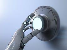 Caja fuerte abierta del dial del robot ilustración del vector