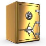 Caja fuerte cerrada del oro sobre el fondo blanco ilustración del vector