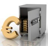 Caja fuerte con euro Imagen de archivo