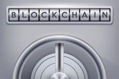 Caja fuerte con la cerradura del blockchain Foto de archivo libre de regalías