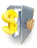 Caja fuerte con la muestra de dólar del oro stock de ilustración