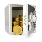 Caja fuerte con las monedas de oro Fotografía de archivo libre de regalías