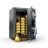 Caja fuerte con oro Fotos de archivo libres de regalías