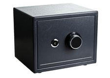 Caja fuerte de acero negra imagenes de archivo