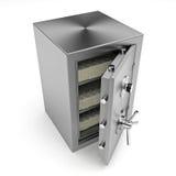 Caja fuerte de la batería con el dinero Imágenes de archivo libres de regalías