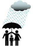 Caja fuerte de la familia bajo la nube y la lluvia del paraguas Fotos de archivo libres de regalías