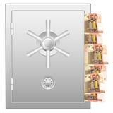 Caja fuerte del banco con cincuenta billetes de banco euro libre illustration