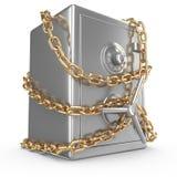 Caja fuerte del banco con la cadena de oro y el candado Imagen de archivo