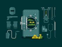 Caja fuerte del banco con las herramientas para cortar ilustración del vector
