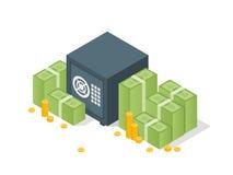 Caja fuerte del banco con las pilas del dólar del dinero Caja fuerte abierta con el dinero Ejemplo isométrico del vector 3d Fotografía de archivo libre de regalías