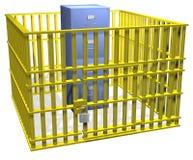 Caja fuerte del bloqueo de la cabina de fichero en jaula de la seguridad de datos Foto de archivo