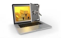 Caja fuerte del ordenador portátil imagen de archivo