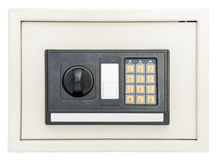 Caja fuerte electrónica cerrada en blanco fotos de archivo libres de regalías