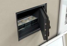 Caja fuerte y billetes de banco abiertos de la pared imagen de archivo