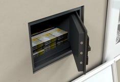 Caja fuerte y billetes de banco abiertos de la pared imágenes de archivo libres de regalías