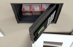 Caja fuerte y billetes de banco abiertos de la pared fotos de archivo libres de regalías