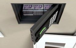 Caja fuerte y billetes de banco abiertos de la pared fotografía de archivo