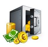 Caja fuerte y dinero Imagen de archivo libre de regalías