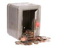 Caja fuerte y dinero del juguete de la vendimia Imagen de archivo