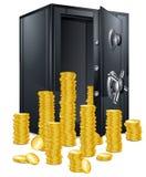 Caja fuerte y monedas de la batería Fotografía de archivo libre de regalías