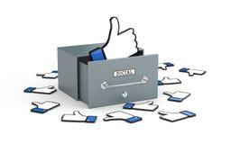 ¡Caja grande con gustos! Metáfora social de las redes stock de ilustración