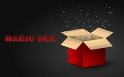 Caja mágica de oro de color rojo Ejemplo realista en un fondo oscuro Resplandor hermoso de una caja abierta Luciérnagas del vuelo Foto de archivo