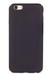 Caja negra del teléfono en un fondo blanco Fotos de archivo