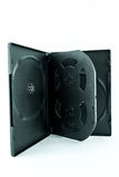 Caja negra para el DVD o disco CD con DVD o disco CD stock de ilustración