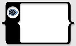 Caja para cualquier texto con la flecha azul Imágenes de archivo libres de regalías