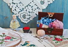 Caja para la costura. Imagenes de archivo
