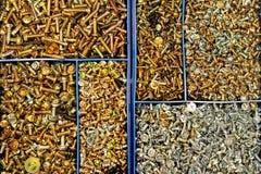 Caja plástica con los tornillos diversos imagen de archivo libre de regalías