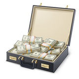 Caja por completo de dinero Imagen de archivo libre de regalías