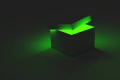 Caja que brilla intensamente verde Imagen de archivo libre de regalías